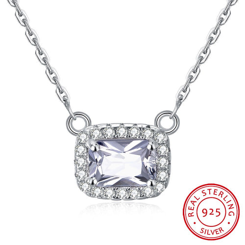 S925 Silver Necklace Korean Fashion Necklace Square Large Zircon Necklace