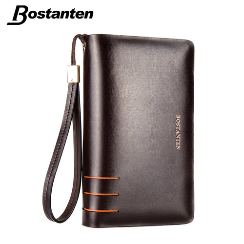 BOSTANTEN ☀ Split Leather Mens Wallets Double Zipper