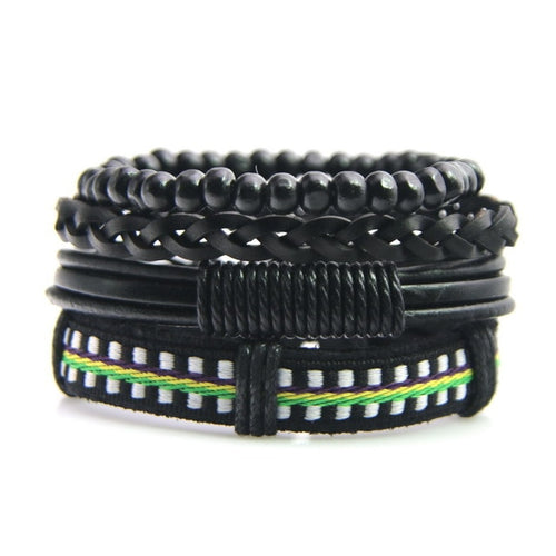 Unisex Genuine Leather 4 PC Bracelets.