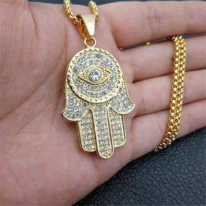 Turkish Evil Eye Hamsa Hand Pendant..