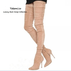 🌟 Women's Suede Leather Thigh High Stiletto Boots..