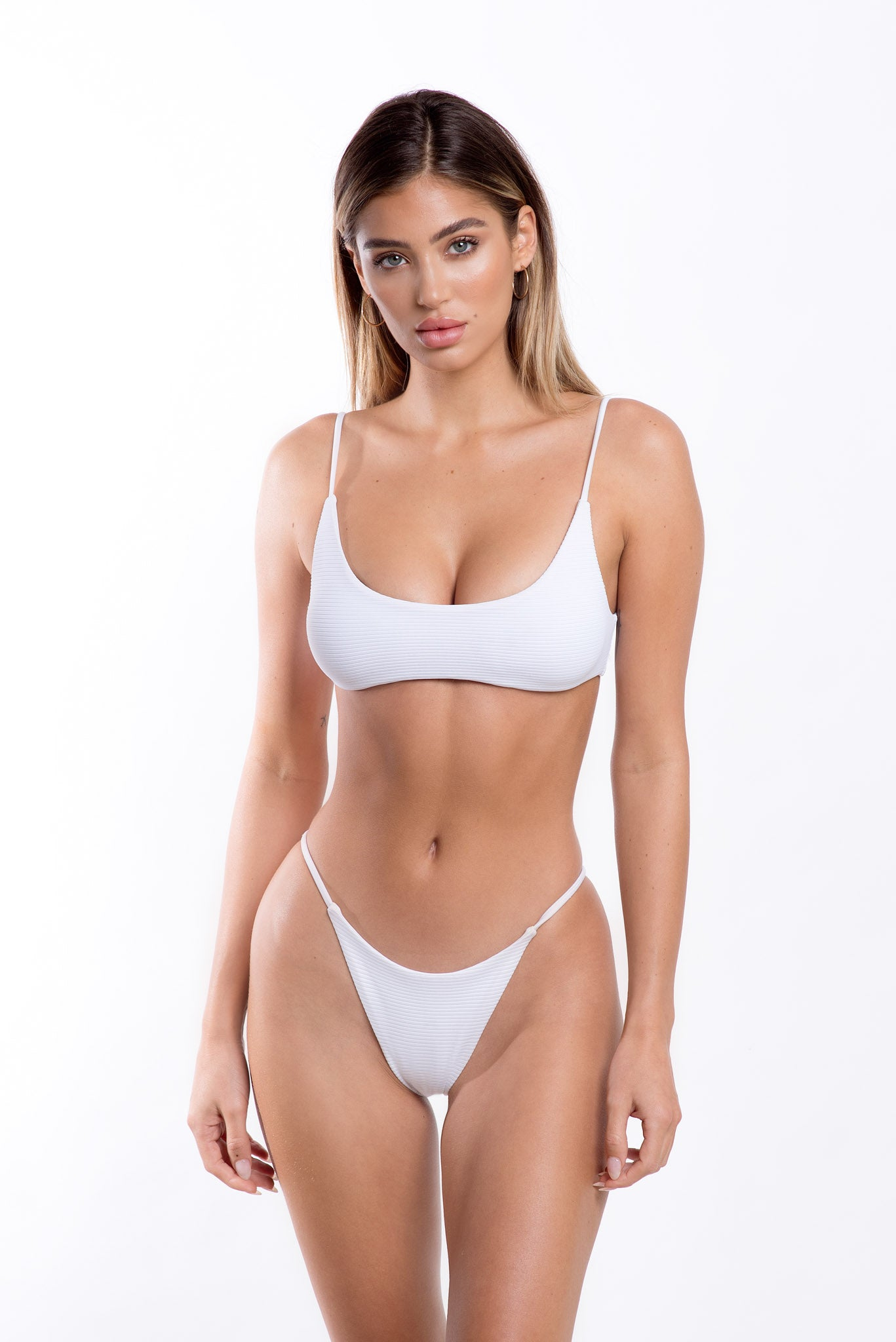 Lara Bottoms White Rib
