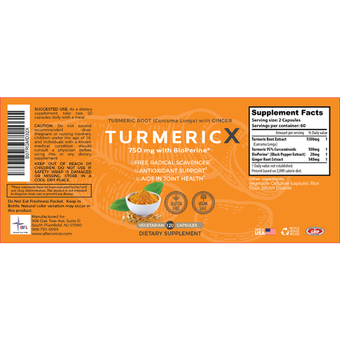 Image of 1500 mg/serving active curcuminoids QFL TurmericX 120 Veggie Capsules- 2 Months Supply- 95% Curcumin Turmeric Powder with Ginger, Black Pepper for Better Absorption - Ayurvedic NON-GMO Antioxidant & Anti-Inflammatory Joint Pain Relief
