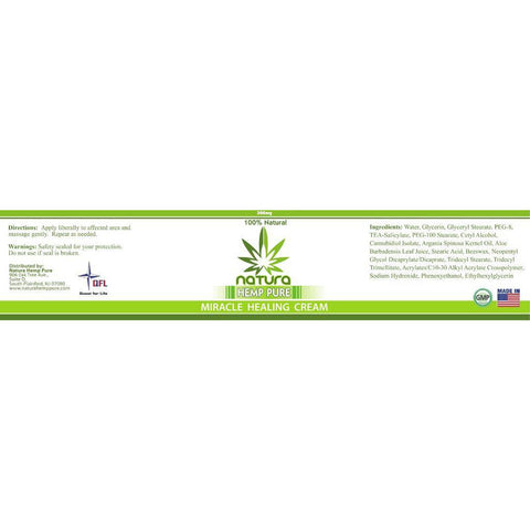 Image of QFL NATURA HEMP PURE MIRACLE PAIN RELIEF CREAM 300mg. Made in USA.