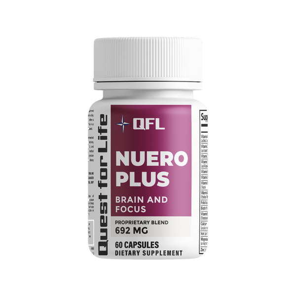 QFL Neuro Plus Memory and Focus Formula - Boost Focus, Improve Brain Health, Energy & Mood Booster for Men and Women. DHA, DMAE, L glutamine, folic Acid, Vitamin D Supplement