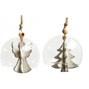 Angel or Tree in Glass Dome Silver 8cm