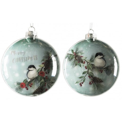 Green Winter Bird Decal Bauble 10cm