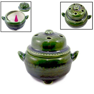 Shoyeido Incenser Holder - Medium Covered Incense Bowl for Cones - Miyako - Candle Cottage