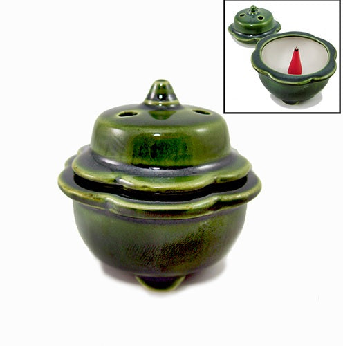 Shoyeido Incenser Holder - Small Covered Incense Bowl for Cones - Miyako - Candle Cottage