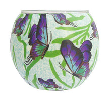 Glowing glass, handcrafted candle tealight holder - CHASING BUTTERFLIES