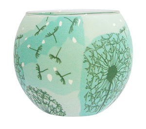 Glowing glass, handcrafted candle tealight holder - DANDELION SWAY