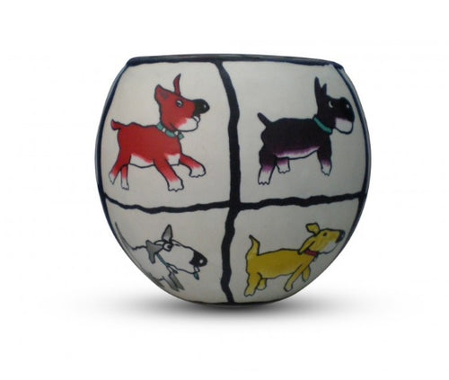 Glowing Glass Tea Light Holder - Dogs Life A2687