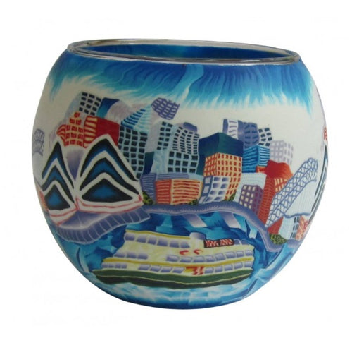 Glowing Glass Tea Light Holder - Sydney Harbour A2525S