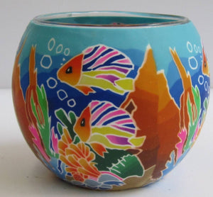 Glowing Glass Tea Light Holder - Tropical Fish
