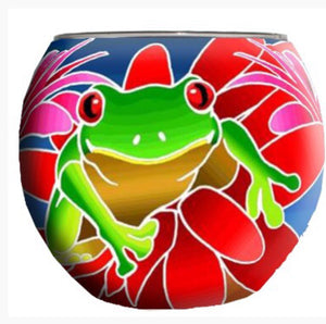 Glowing Glass Tea Light Holder - Frog A2703