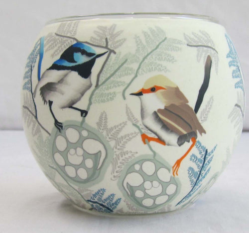 Glowing Glass Tea Light Holder - Blue Wren Birds A2802