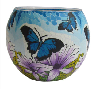 Glowing Glass Tea Light Holder - Northland Butterfly Blues A25666t