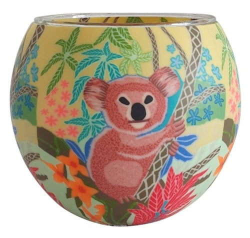 Glowing Glass Tea Light Holder - Koala A2019 03