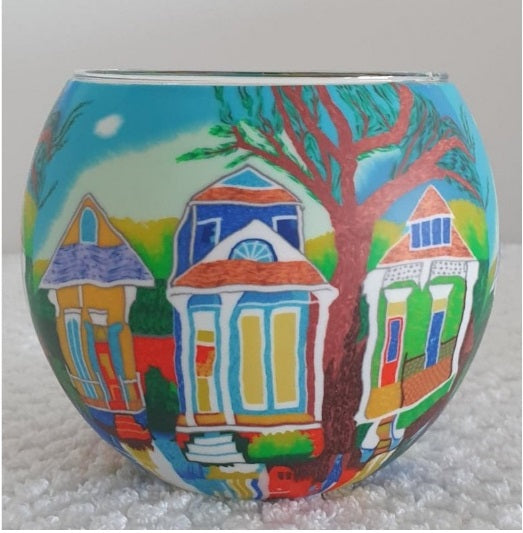 Glowing Glass Tea Light Holder - New Orleans Houses