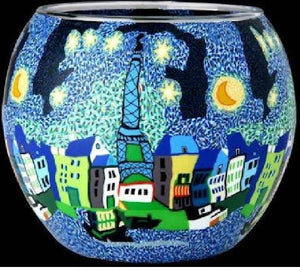 Glowing glass, handcrafted candle tealight holder - MOONLIT PARIS  A2710