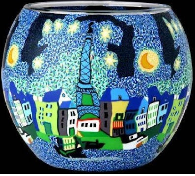 Glowing glass, handcrafted candle tealight holder - MOONLIT PARIS