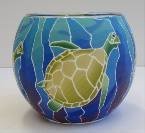 Glowing Glass Tea Light Holder - Turtle A2711