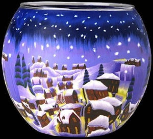 Glowing Glass Tea Light Holder - Winter Snowy Town A2187
