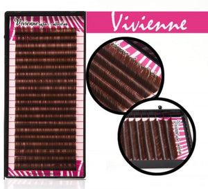 "VIVIENNE BROWN EYELASH EXTENSIONS ""SAFARI COLLECTION"" ONE LENGTH 20 LINES TRAY D 0. 07"