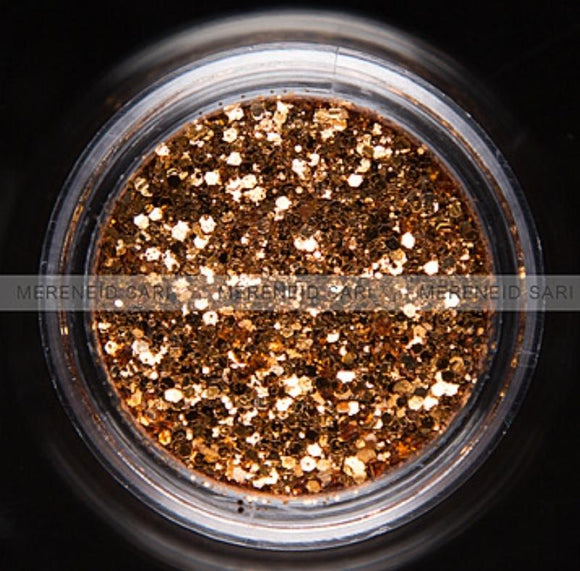 Glitter Dust - Hexi-mixed sizes Light Bronze