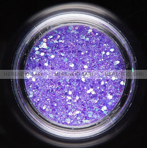 Glitter Dust - Hexi-mixed sizes Rainbow Purple