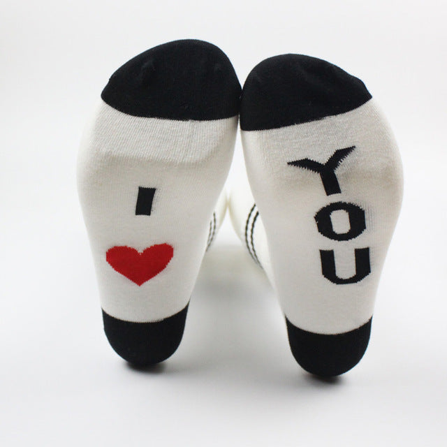 2018 Men Women Funny Socks words printed socks I love you Kiss me Socks Cotton casual socks unisex Lovers socks