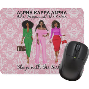 "Personalized AKA ""What Happens with the Sisters Stays with the Sisters"" Mouse Pads"