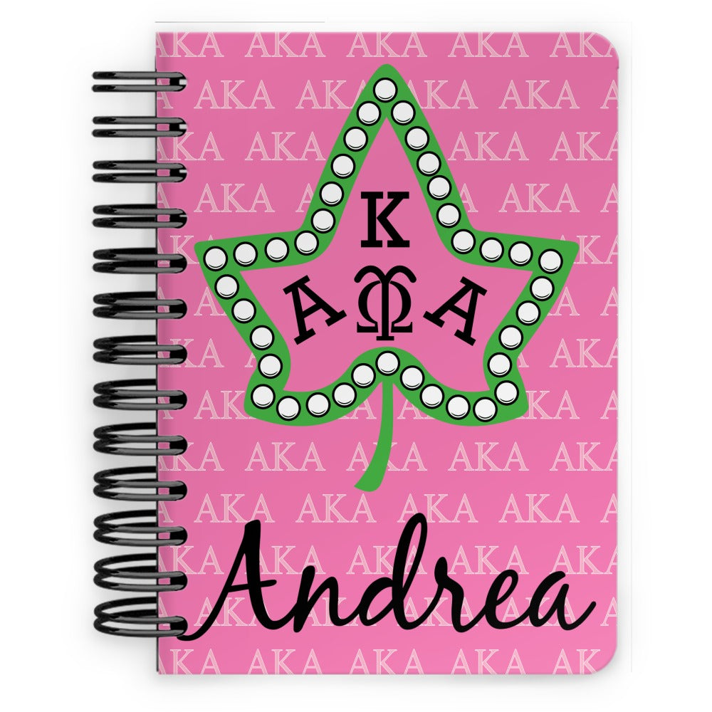 Personalized AKA & Ivy Leaf w/ Pearls - Spiral Notebook - 5x7