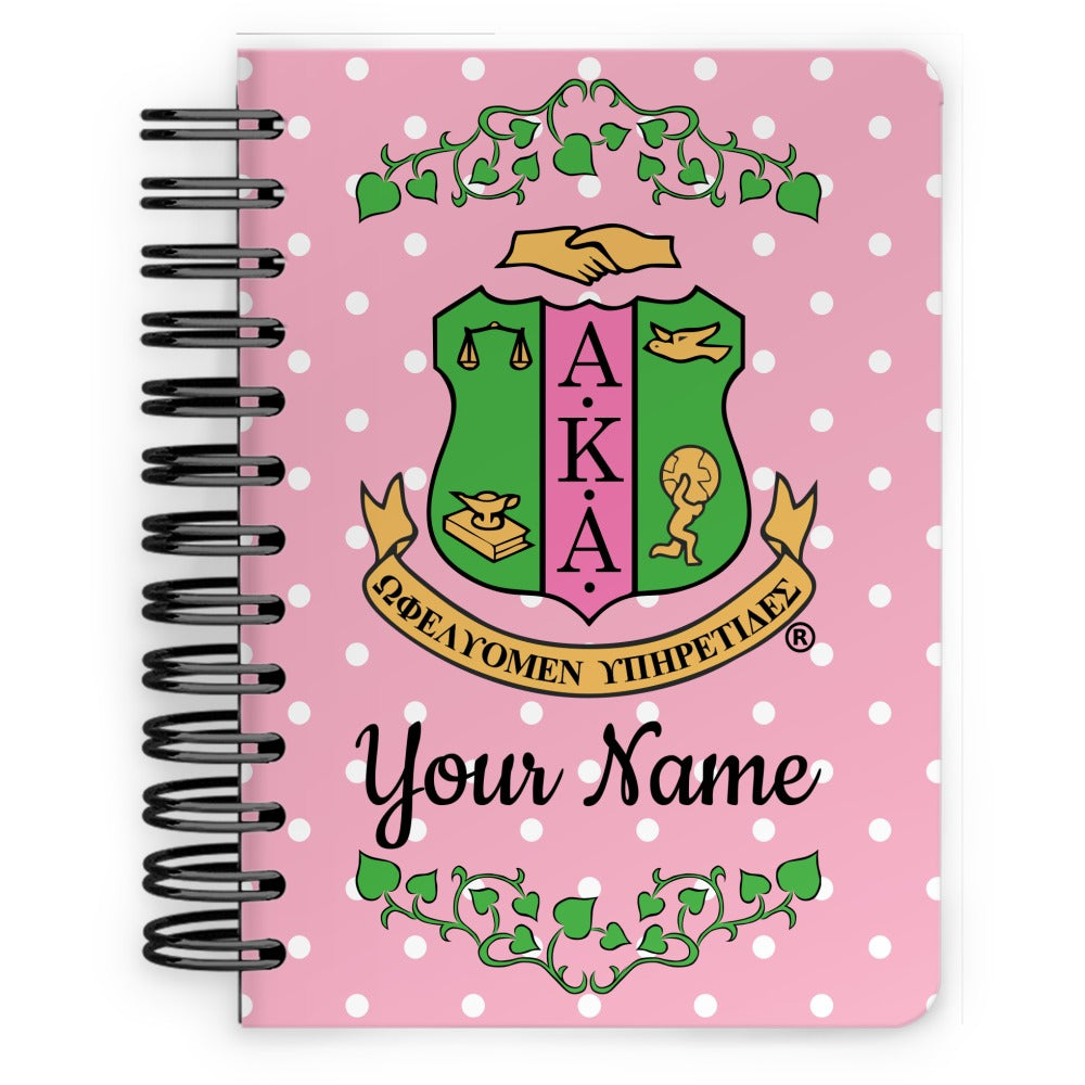Personalized AKA Logo & Polka Dots Spiral Notebook - 5x7