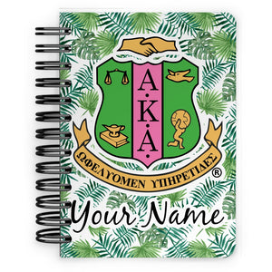 Personalized AKA Logo & Tropical Leaves Spiral Notebook - 5x7