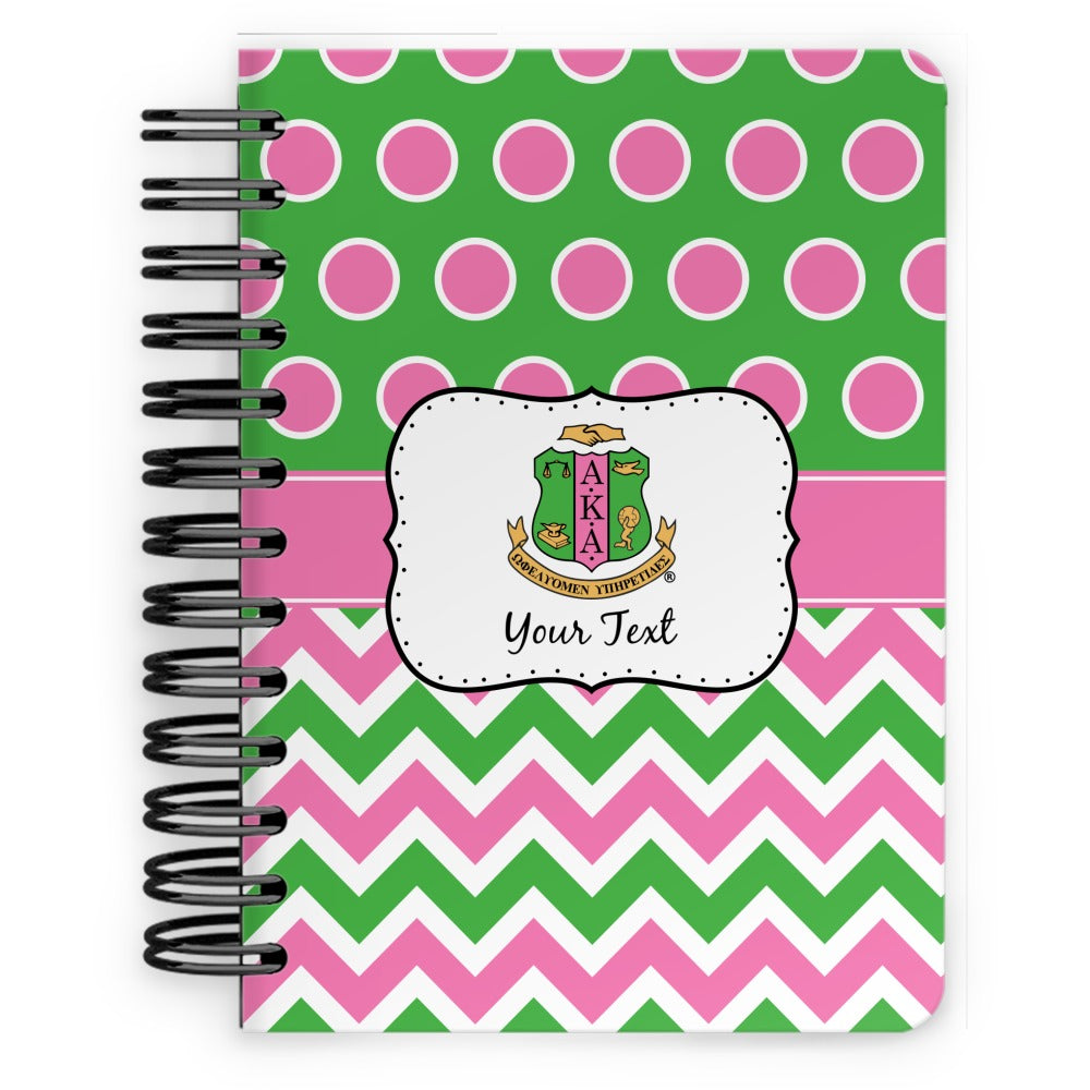 Personalized AKA Logo, Chevron & Polka Dots Spiral Notebook - 5x7