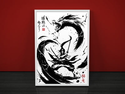 dragon warrior ink japanese black and white traditional artist sumie