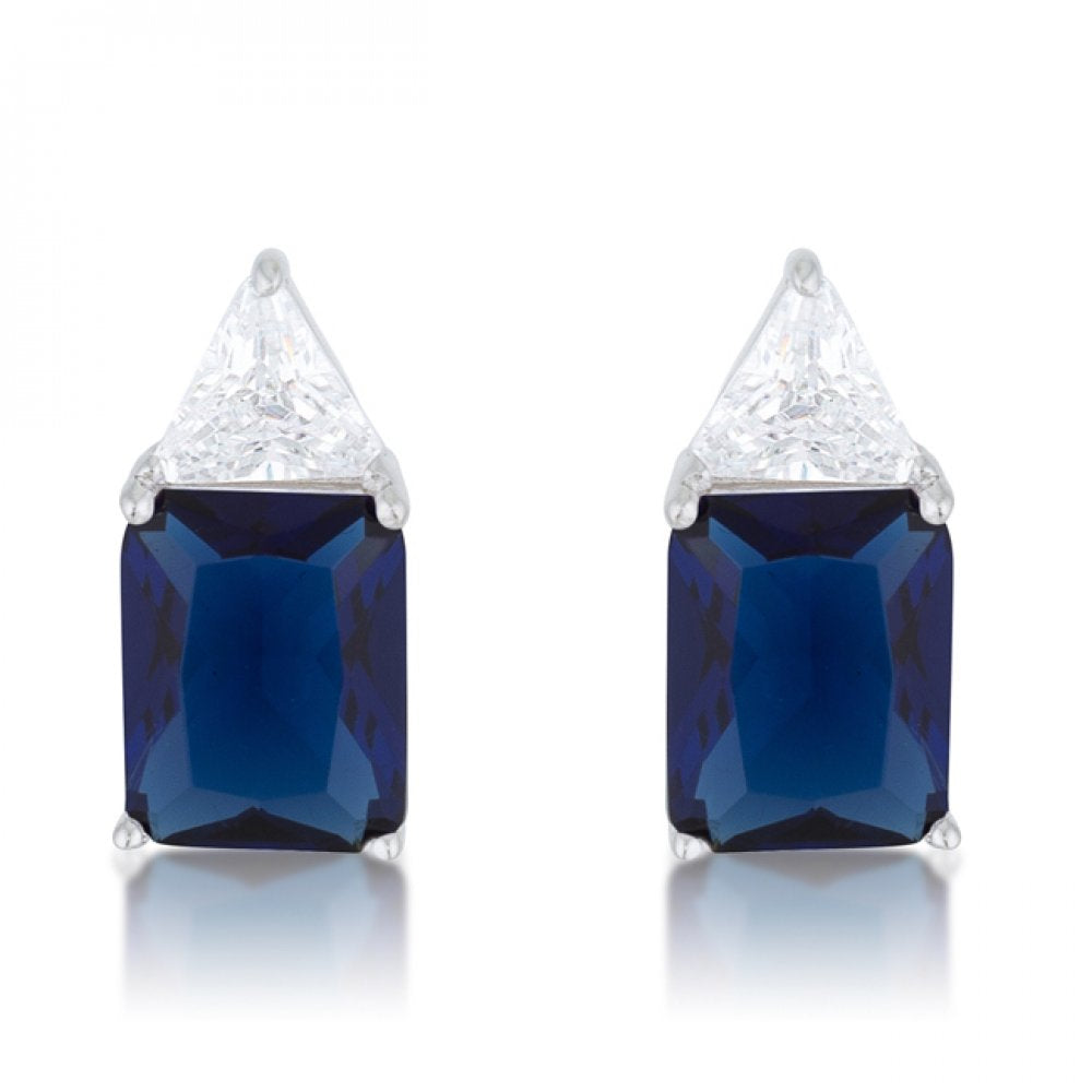 Classic Sapphire Cubic Zirconia Sterling Silver Stud Earrings