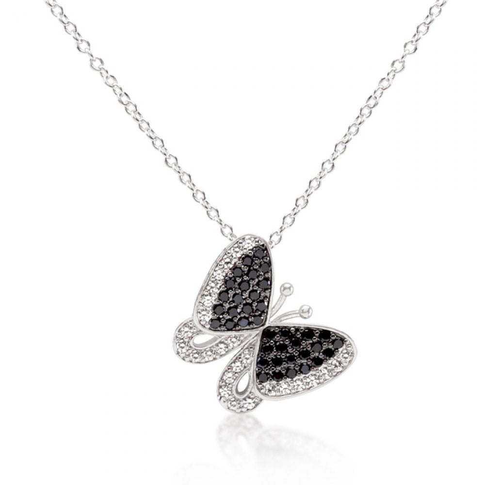 Black And White Cz Butterfly Pendant
