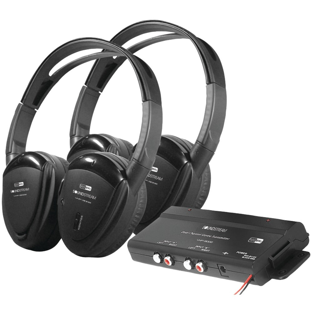 Power Acoustik 2 Sets Of 2-channel Rf 900mhz Wireless Headphones With Transmitter