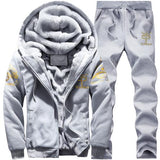 BOLUBAO Winter Thick Men Sports Suit Tracksuit Hooded Sportswear Zipper Cardigan Hooded+Elastic Pants Casual Men Set