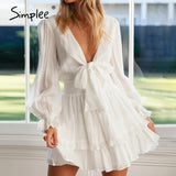 Simplee Bohemian solid bow mini party dress women sexy feminine V-neck high waist dress trumpet sleeve holiday dress vestidos
