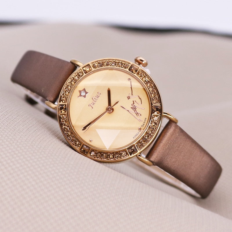 Bling Star Cut Glass Lady Women's Watch Japan Quartz Hours Fine Fashion Bracelet Real Leather Girl's Birthday Gift Julius No Box
