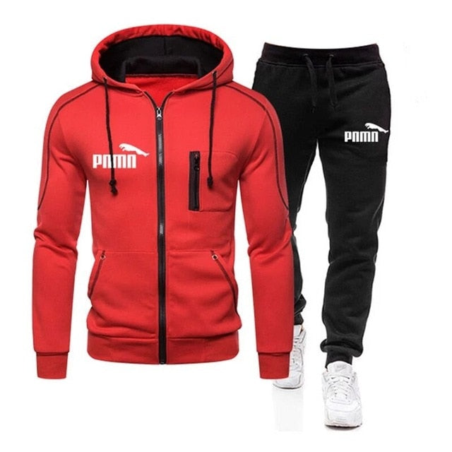 Brand Men's 2 Piece Striped Sportswear Men's 2020 Spring and Autumn Tops Zippered Hood + Outdoor Sports Pants Tracksuit Suit3XL