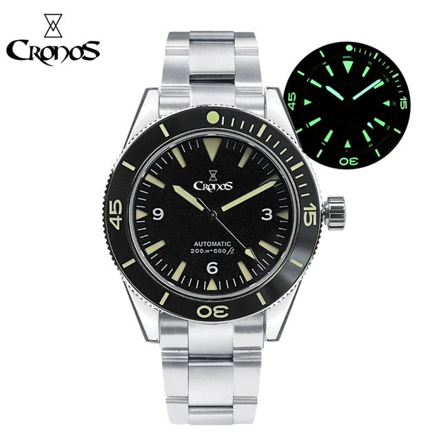 Lugyou Cronos Sea Master Diver Men Watch Sandwich Dial Automatic NH35 200M Water Resistant Rotating Bezel Metal Band