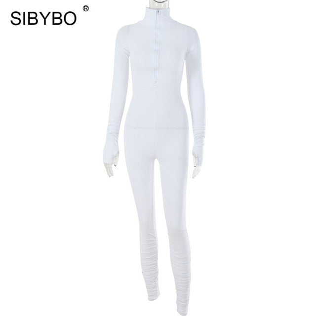 SIBYBO Autumn Turtleneck Skinny Casual Jumpsuit Women Long Sleeve Front Zipper Sport Wear Women Rompers Black Overalls for Women