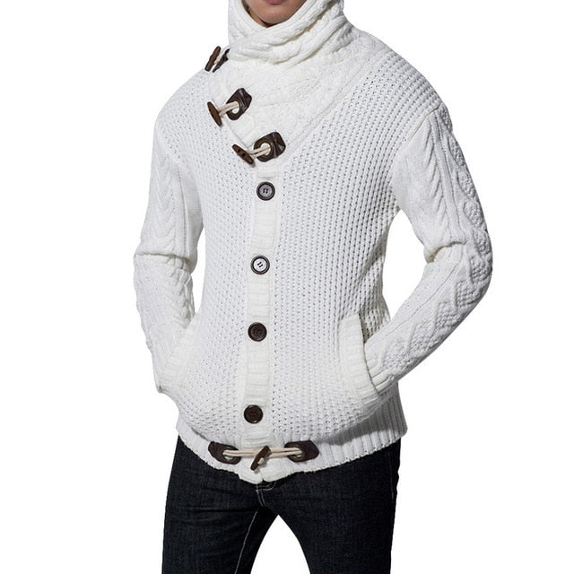 New Winter Autumn Middle-Long Mens White Sweater Cardigan Trench Male Autumn Warm Jacket Coat Sweater Male Winter Sweater
