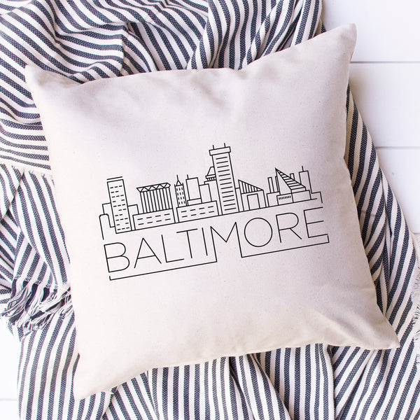 Baltimore Skyline Pillow Cover