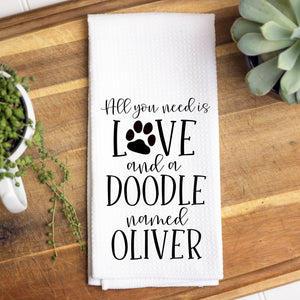 Custom All You Need Is Love and a Doodle Waffle Towel