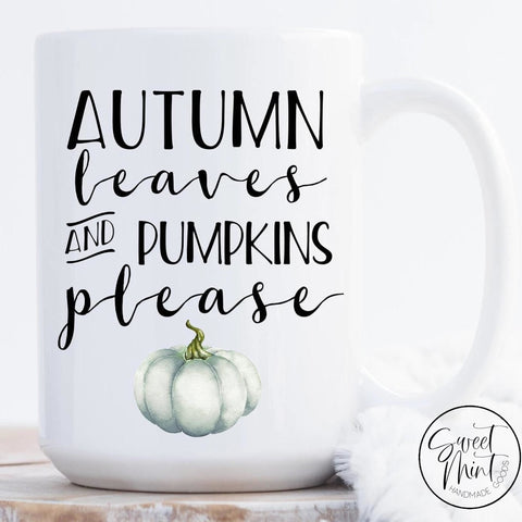 Autumn Leaves And Pumpkins Please Mug - Blue Pumpkin